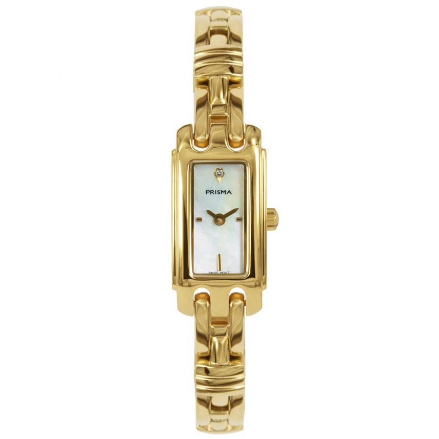 Prisma P1761 dames horloge edelstaal goud rechthoekig parelmoer