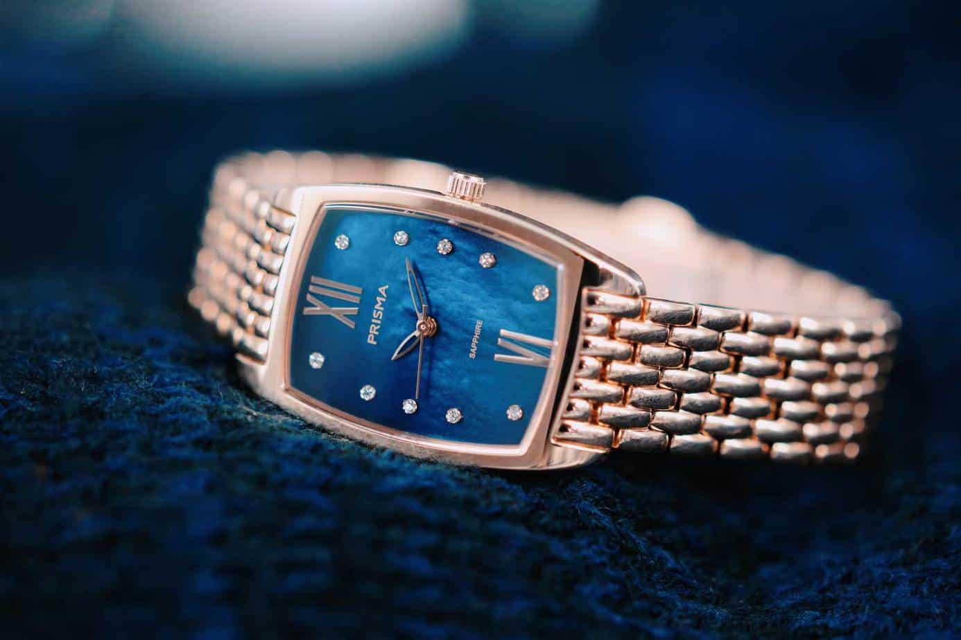 prisma blauw dameshorloge blue ladies watch blauwe wijzerplaat