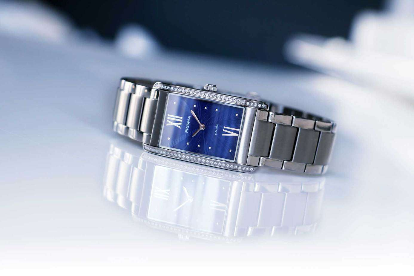 prisma precise zirconia silverblue blauw dameshorloge blue ladies watch blauwe wijzerplaat