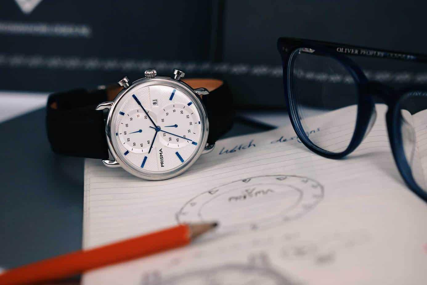 prisma dome chronograaf blauw horloge kantoor heren