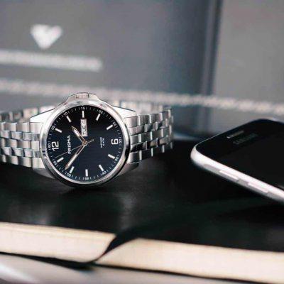 prisma steel pattern heren zwart kantoor horloge office watch