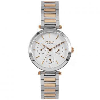 Prisma P1341 dames horloge multifunctie bicolor edelstaal