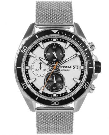 Prisma 1325 Master zwart black P.1325 heren horloge chronograaf mesh chronograph watch