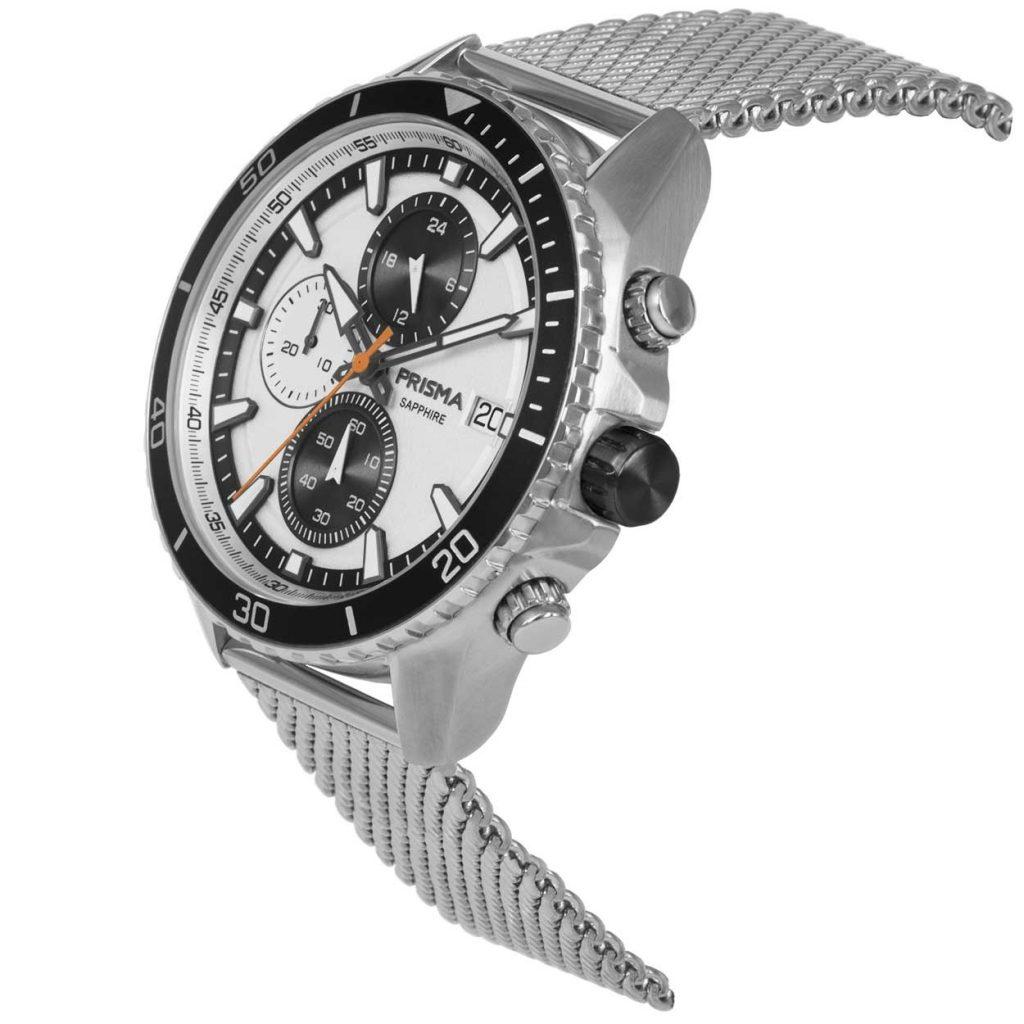 Prisma 1325 Master zwart black P.1325 heren horloge chronograaf mesh zilver