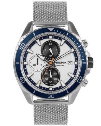 Prisma 1326 Master P1326 heren horloge chronograaf mesh blauw