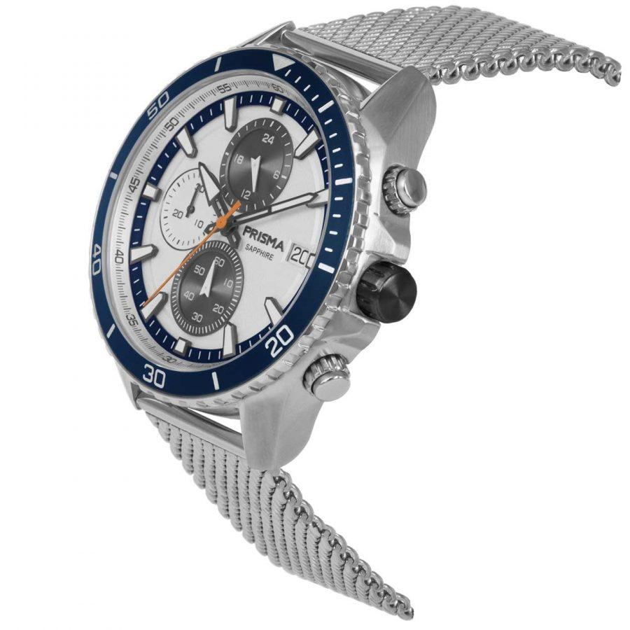 Prisma P1326 heren horloge chronograaf mesh blauw