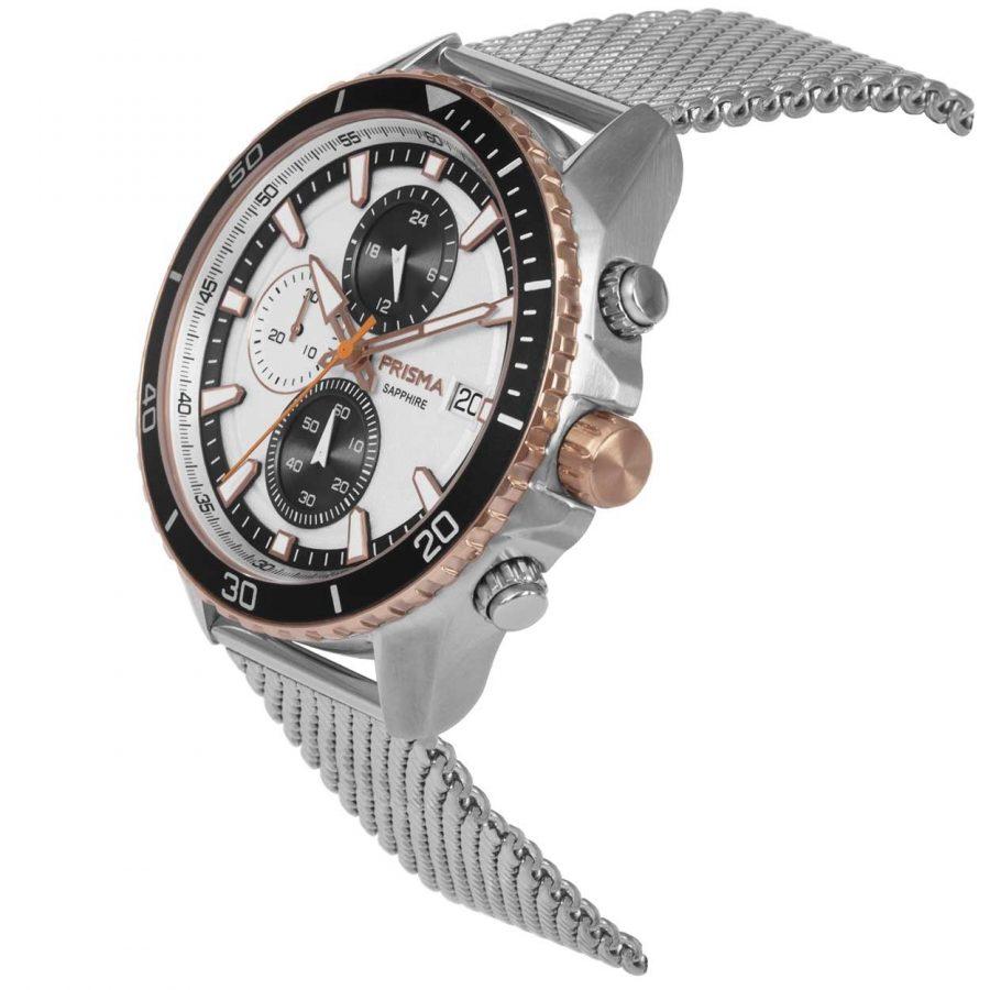Prisma 1327 Master Rosegold chronograph P.1327 heren horloge chronograaf mesh rosegoud