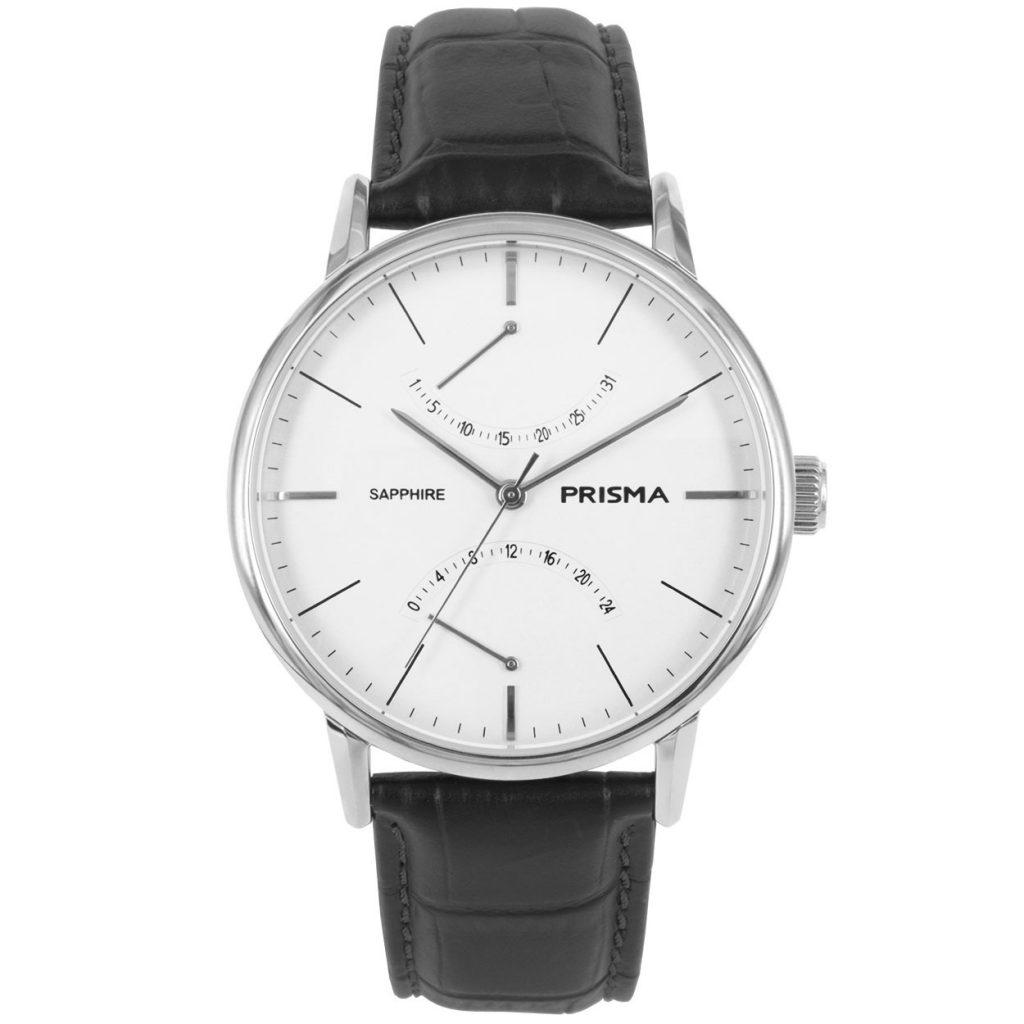 Prisma P1600 heren horloge edelstaal zilver zwart dome vintage retro herenhorloge