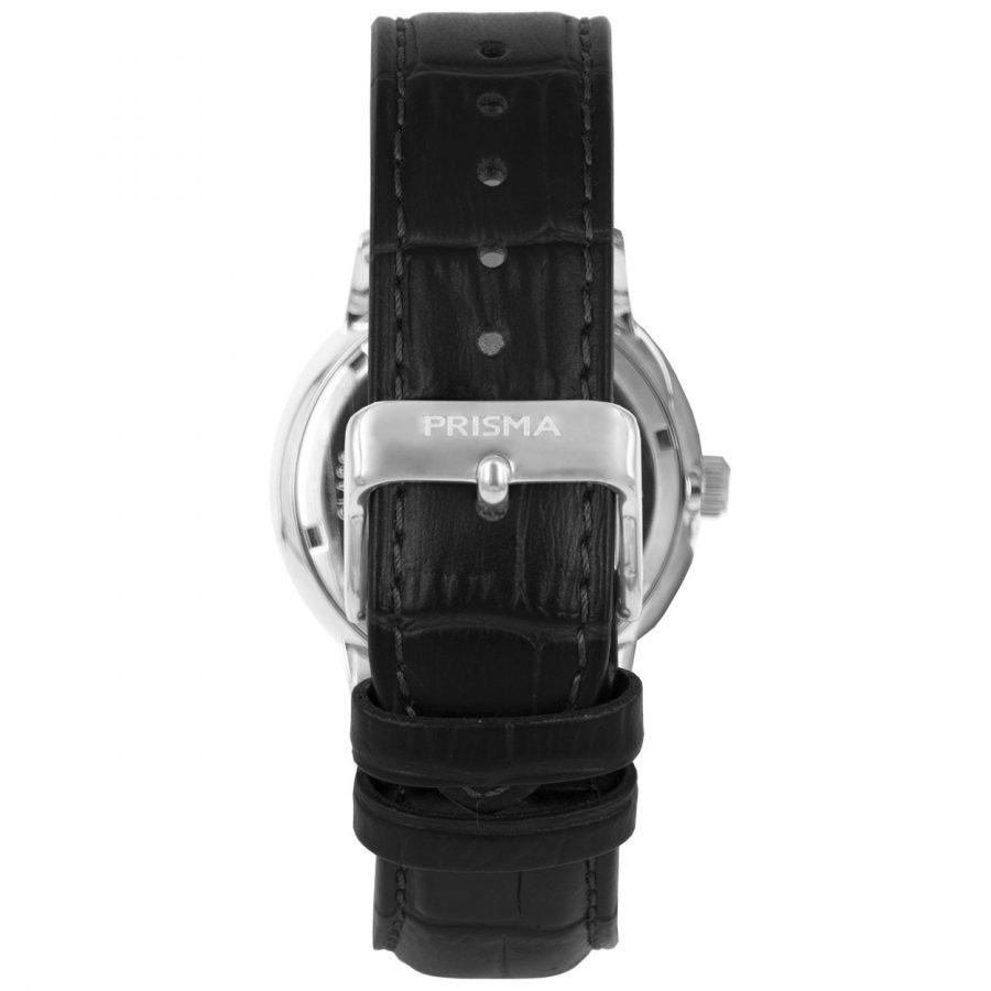 Prisma-P1600-heren-horloge-edelstaal-zilver-zwart-dome-achterkant