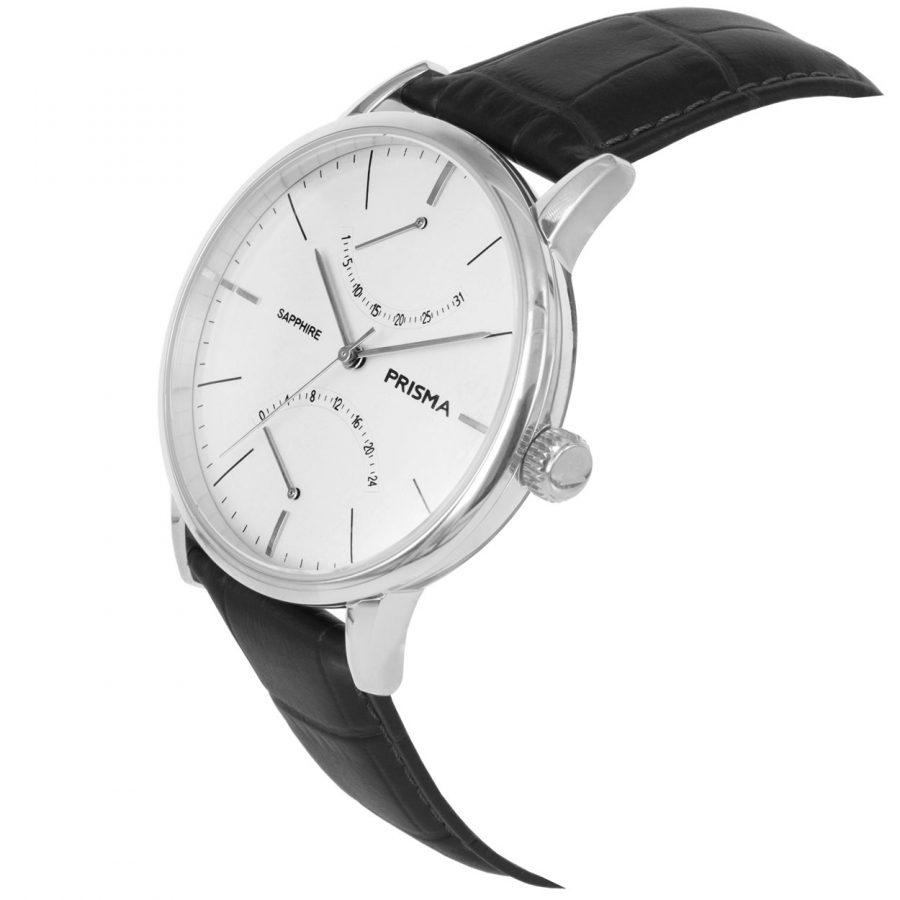 Prisma P1600 heren horloge vintage herenhorloge zilver zwart dome schuin