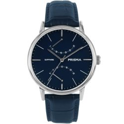 Prisma P.1601 heren horloge blauw herenhorloge edelstaal zilver klassiek 1601