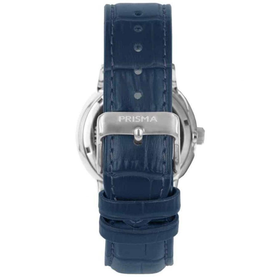 Prisma-P1601-heren-horloge-edelstaal-zilver-blauw-dome-achterkant
