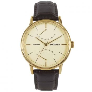 Prisma 1602 heren horloge Voyage goud bruin dome P.1602 klassiek herenhorloge