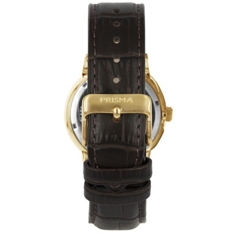 Prisma-P1602-heren-horloge-edelstaal-goud-bruin-dome-achterkant