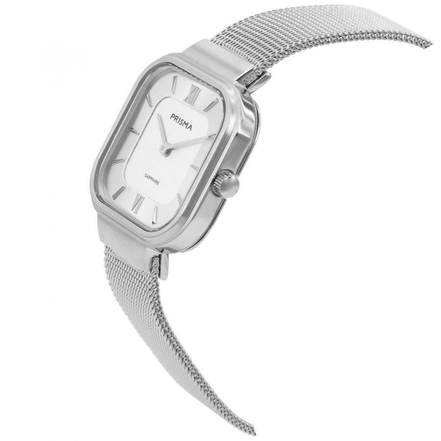 Prisma-P1870-dames-horloge-edelstaal-vierkant-schuin