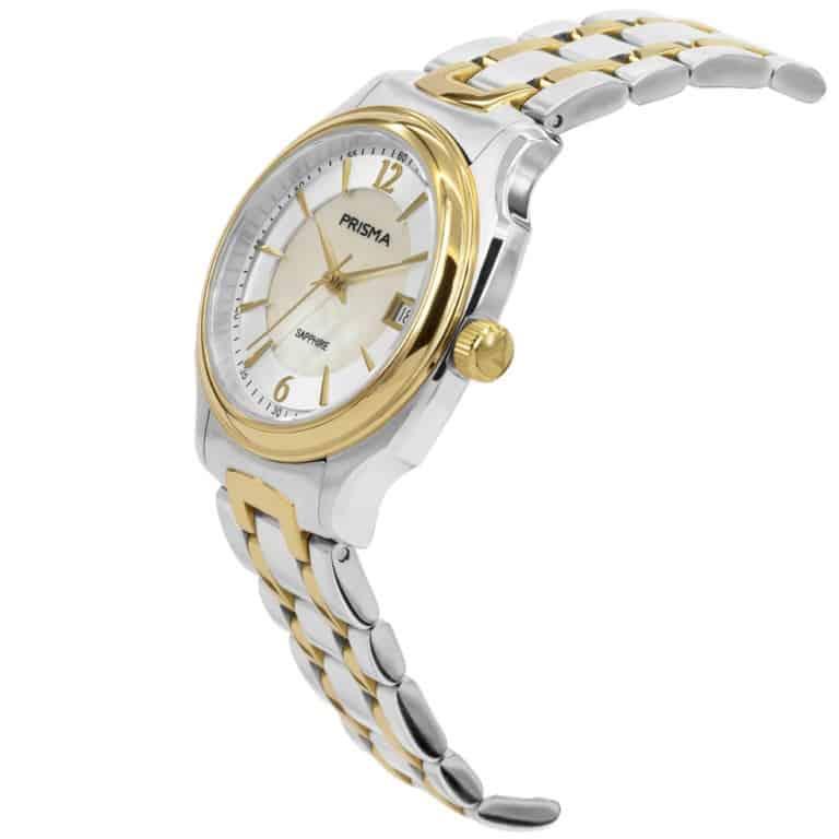 Prisma-P1136-dames-horloge-edelstaal-solid-bicolor-schuin