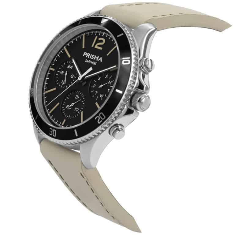 Prisma-P1320-heren-horloge-chrono-zwart-leder-schuin