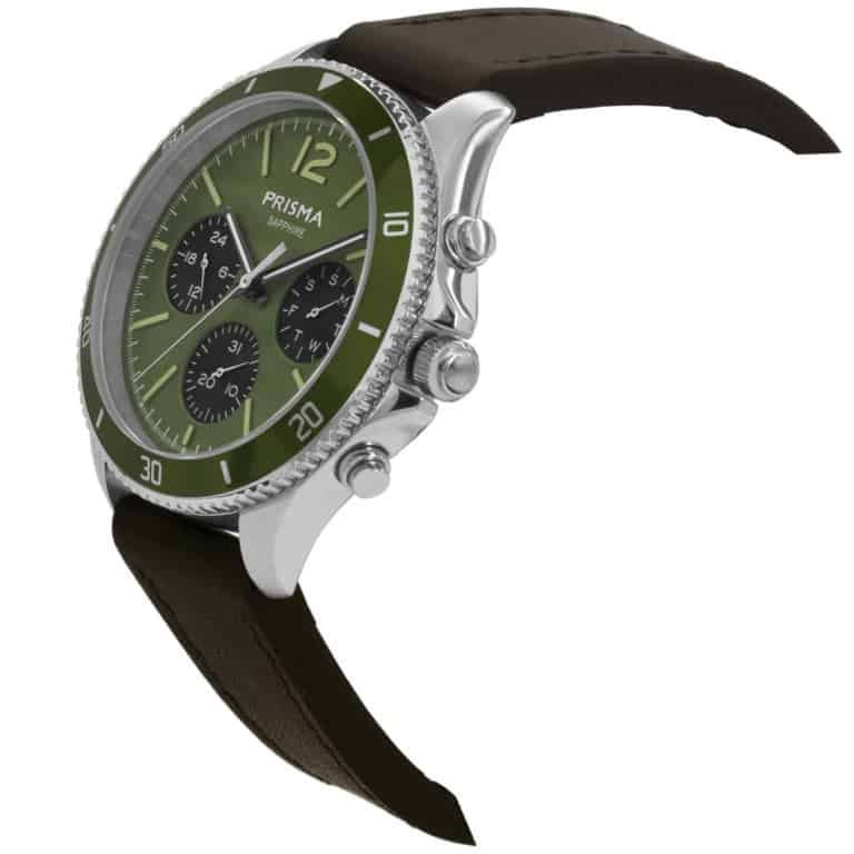 Prisma-P1321-heren-horloge-chrono-groen-leder-schuin