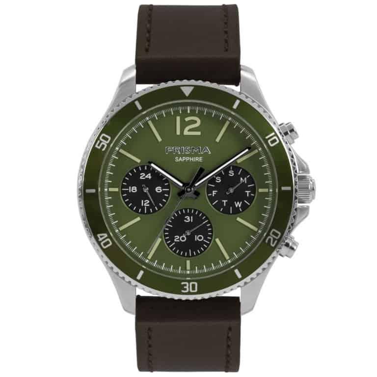 Prisma-P1321-heren-horloge-chrono-groen-leder