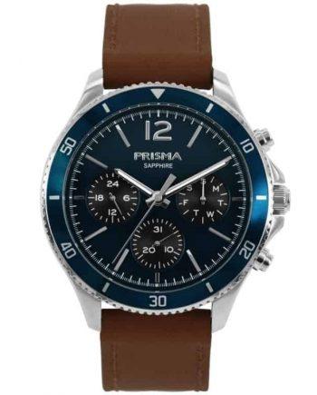 Heren horloge blauw bruin