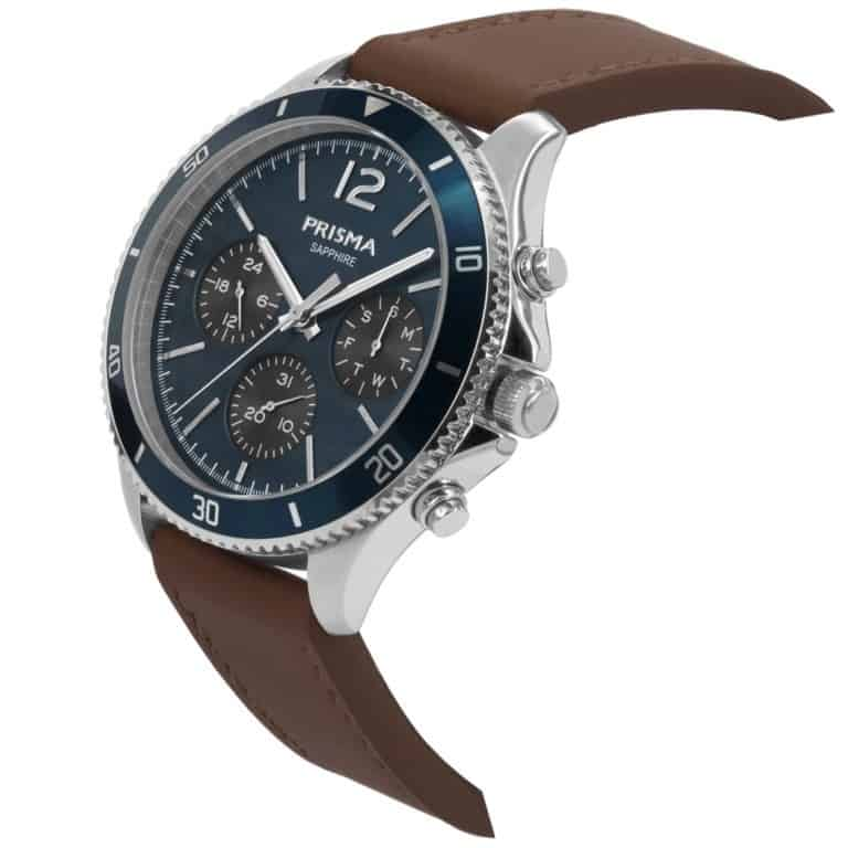 Prisma-P1322-heren-horloge-chrono-blauw-leder-schuin