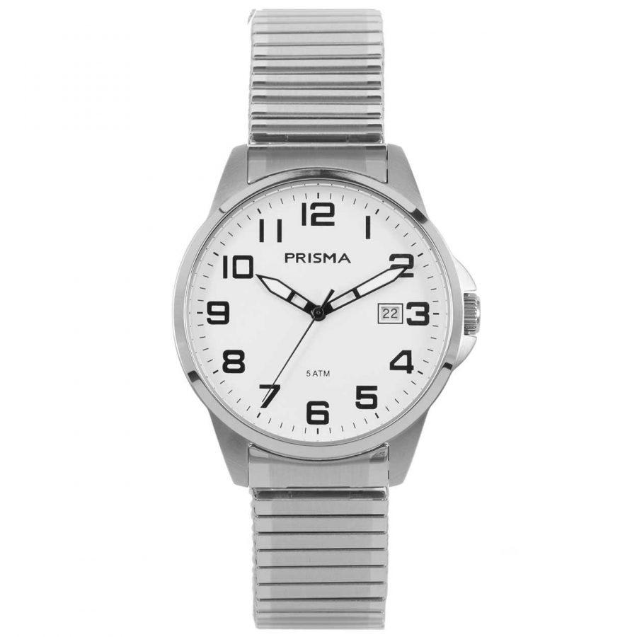 Prisma P1480 heren horloge-rekband edelstaal wit