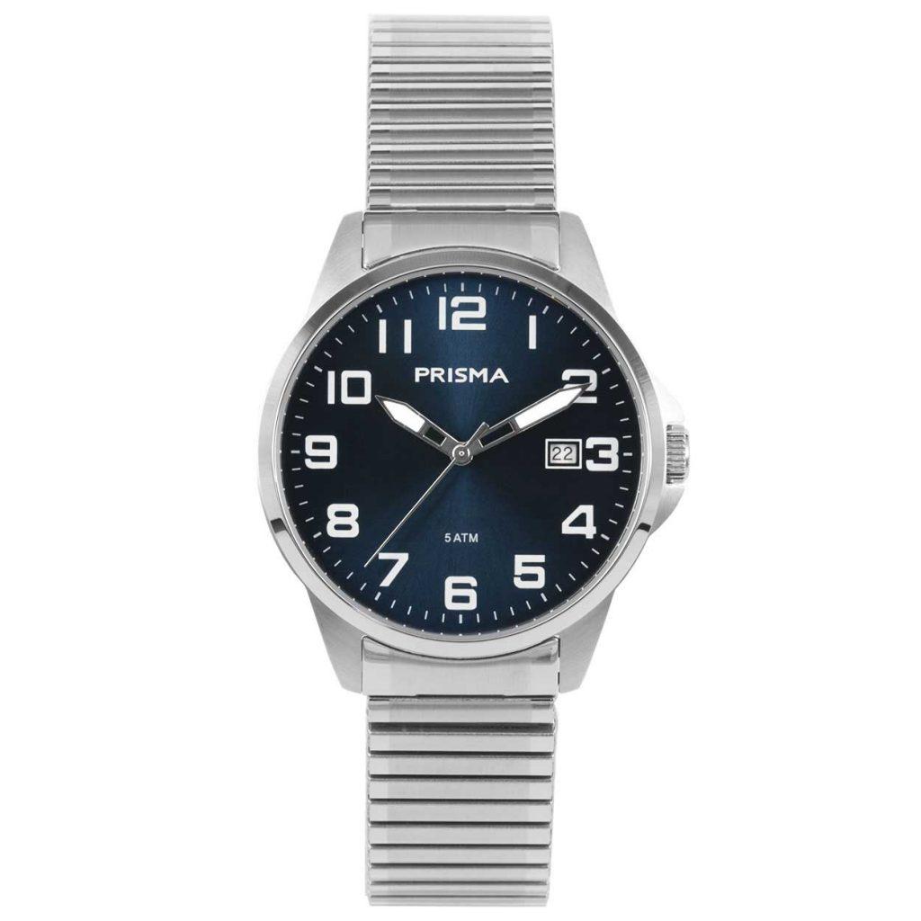 Prisma P1481 heren horloge-rekband edelstaal blauw