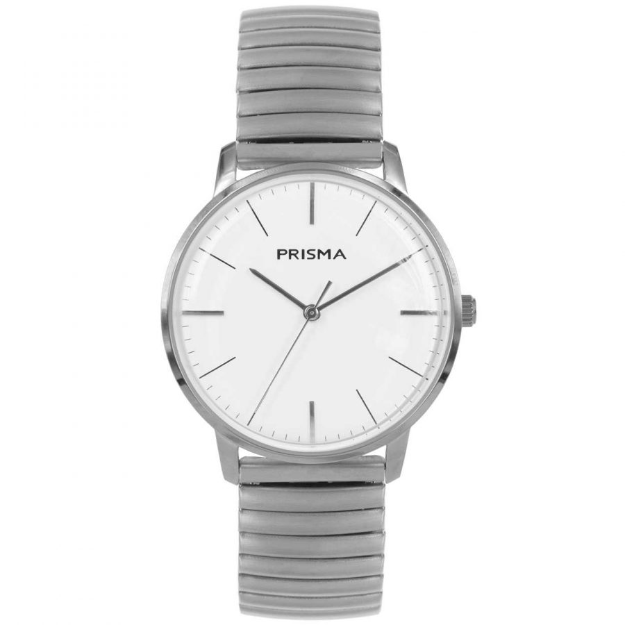 Prisma P1605 heren horloge rekband retro dome zilver