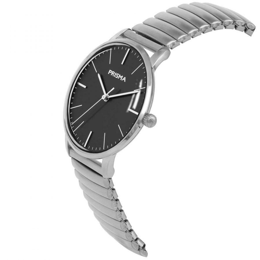 Prisma P1606 heren horloge rekband retro dome zilver