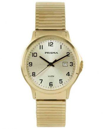 Prisma 1703 heren horloge rekband edelstaal goud
