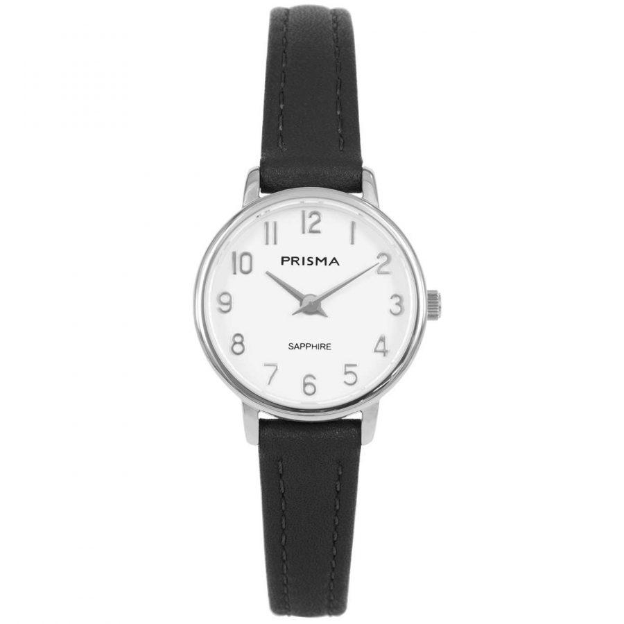 Prisma P1730 dames horloge edelstaal zilver zwart saffier