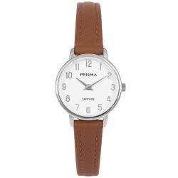 Prisma-P1731-dames-horloge-edelstaal-zilver-bruin-saffier