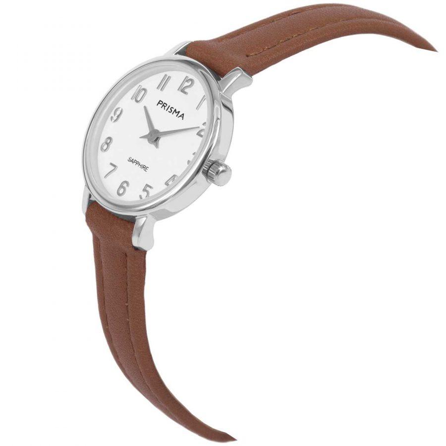 Prisma P1731 dames horloge edelstaal zilver bruin saffier