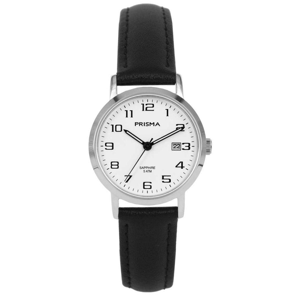 Prisma 1738 horloge dames edelstaal datum leer zwart