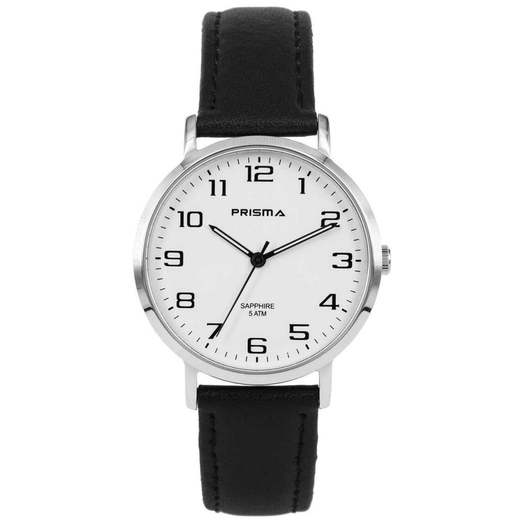 Prisma 1739 horloges heren edelstaal saffier zwart leer