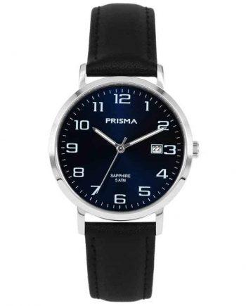 Prisma 1741 horloges heren edelstaal blauw datum leer zwart saffierglas