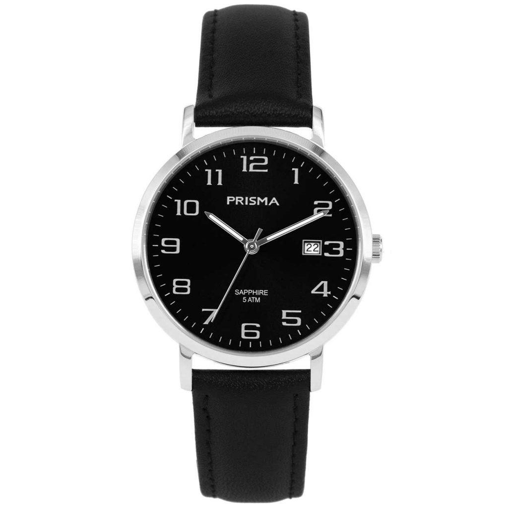 Prisma 1742 horloges heren edelstaal saffierglas zwart datum
