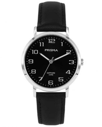 Prisma 1743 horloges heren edelstaal zwart leer saffier