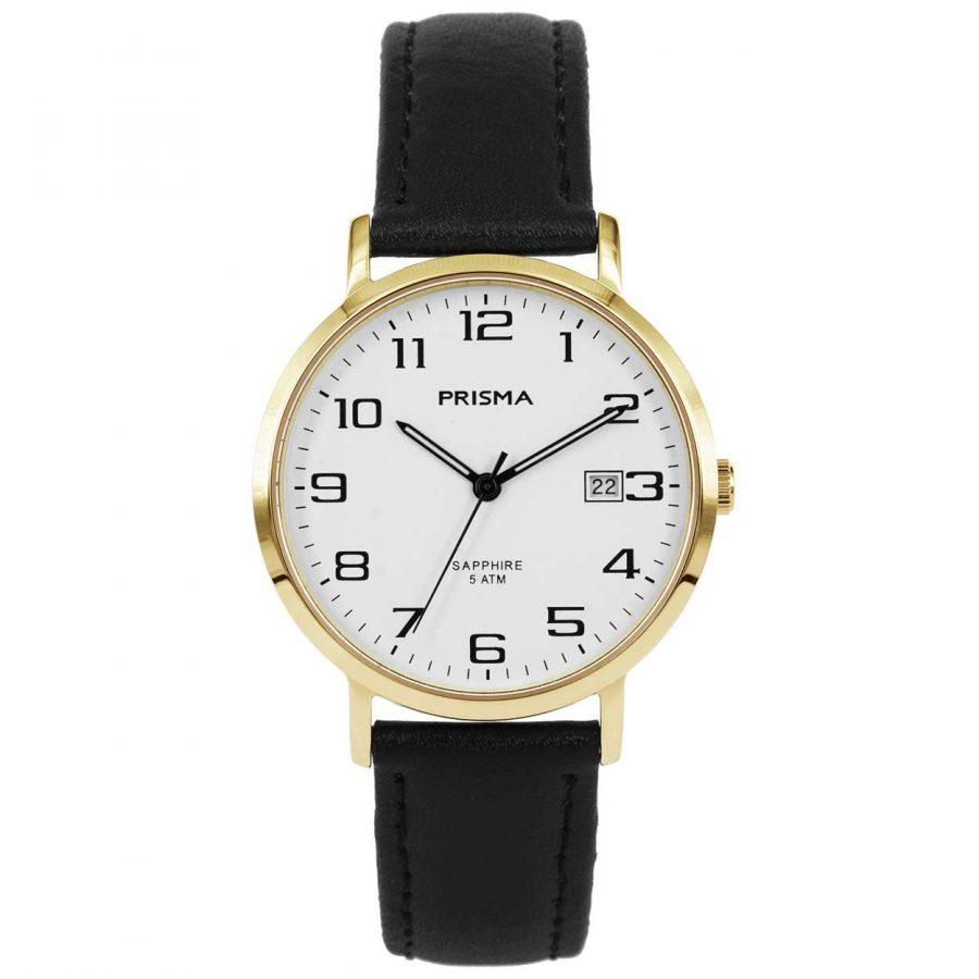 Prisma P1744 horloges heren edelstaal goud saffierglas datum leer zwart
