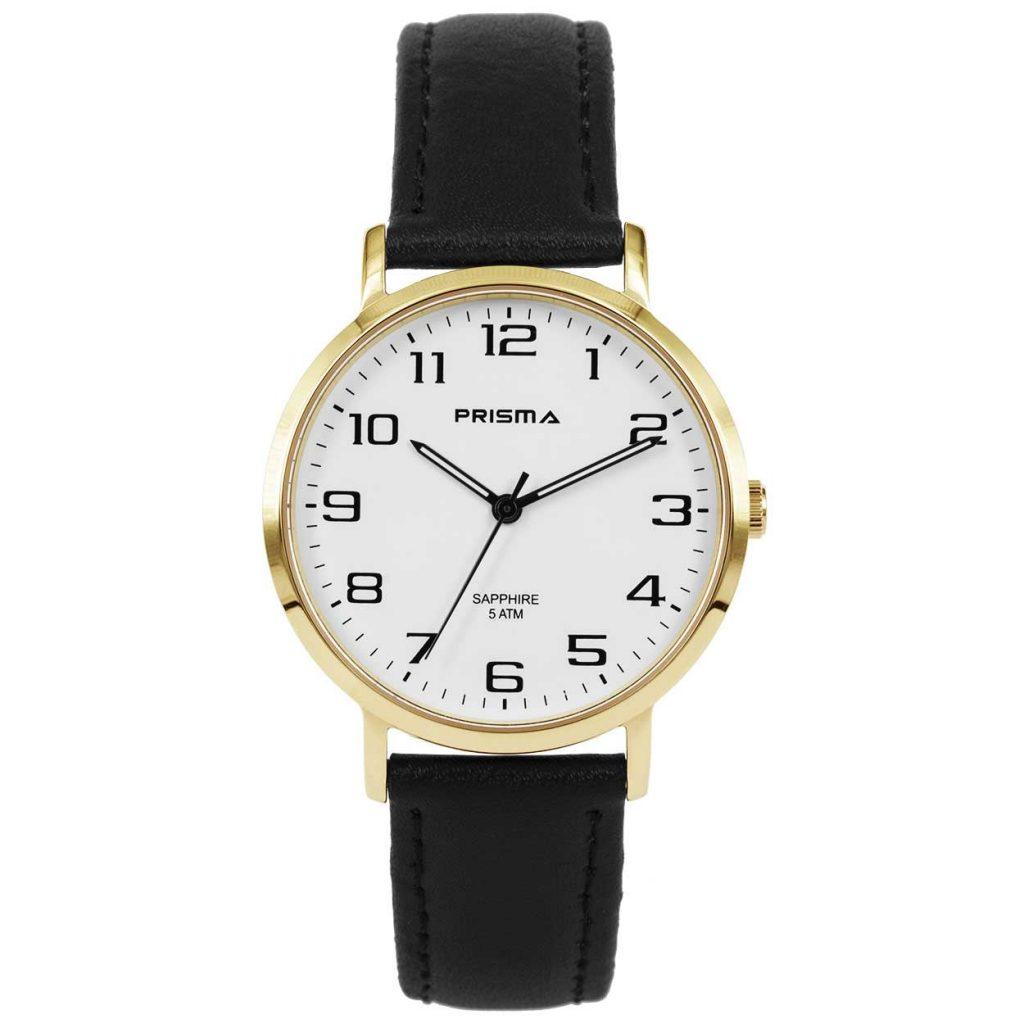 Prisma 1745 Horloges heren-edelstaal IPG saffier leer zwart