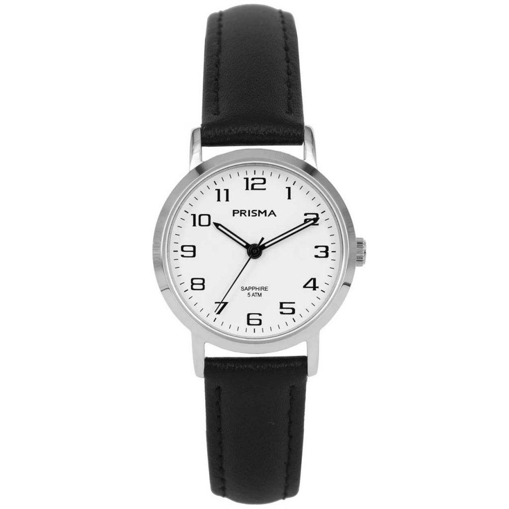 Prisma 1746 horloge dames edelstaal saffierglas leer zwart