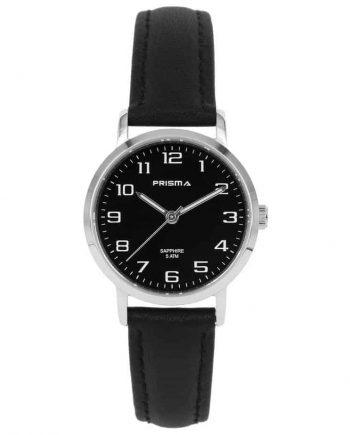 Prisma 1747 horloges dames-edelstaal saffierglas zwart leer