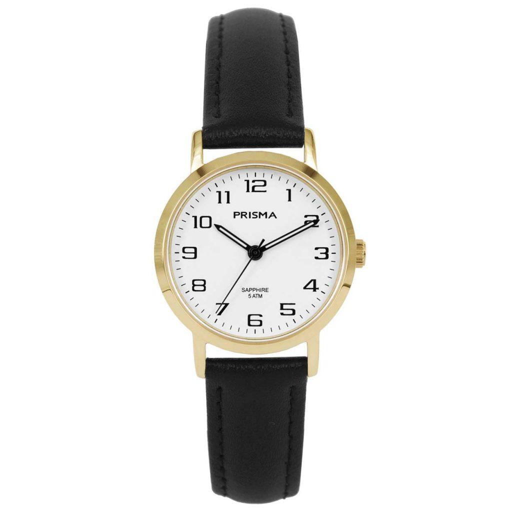 Prisma 1749 horloges dames edelstaal goud saffier zwart leder