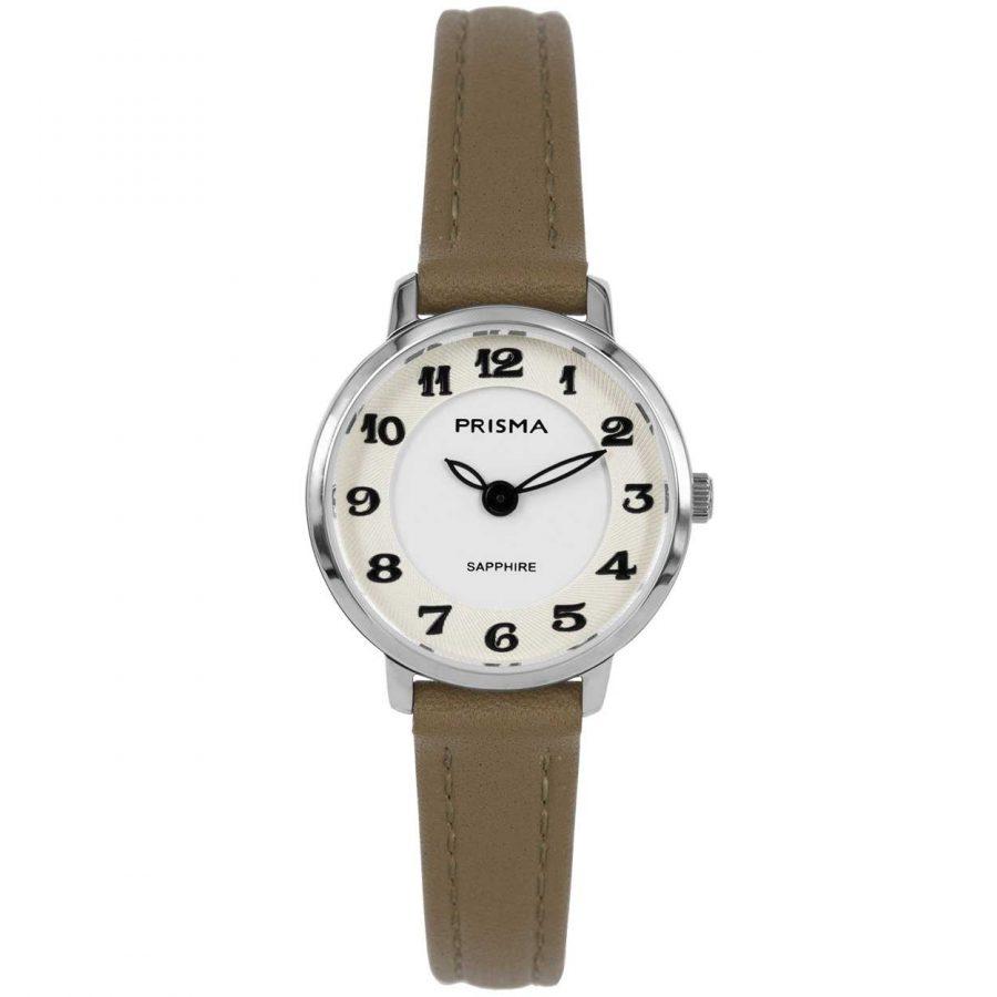 Prisma P1846 dames horloge saffier bruin zilver