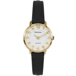 Prisma P1847 dames horloge saffier zwart goud