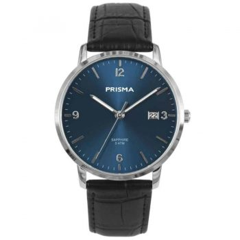 Prisma 1645 Sun Ray Slimline Watch Blue