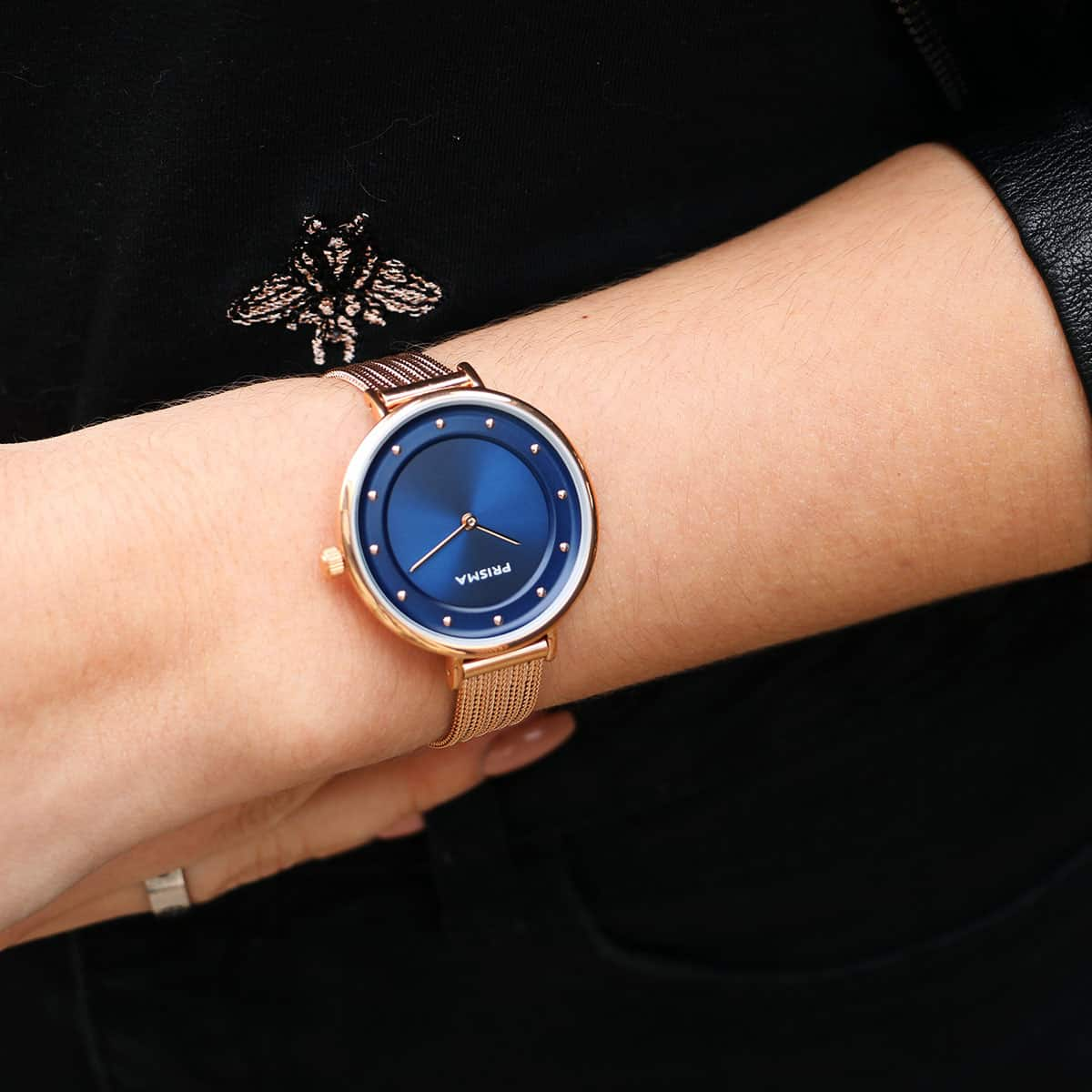 blauw dames horloge rosegoud blue women watch rosegold