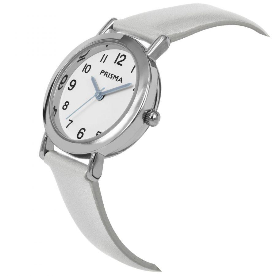 Prisma-CW356-kids-horloge-meisje-zilver-vera-schuin