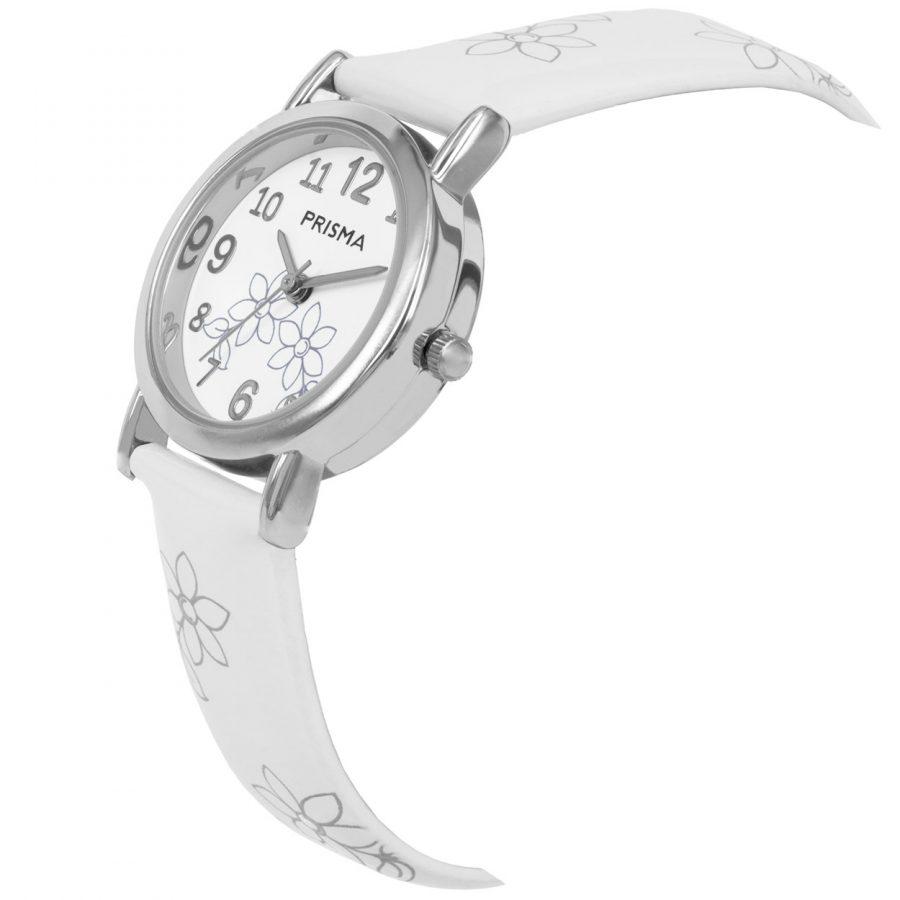 Prisma-CW361-kids-horloge-wit-lily-schuin