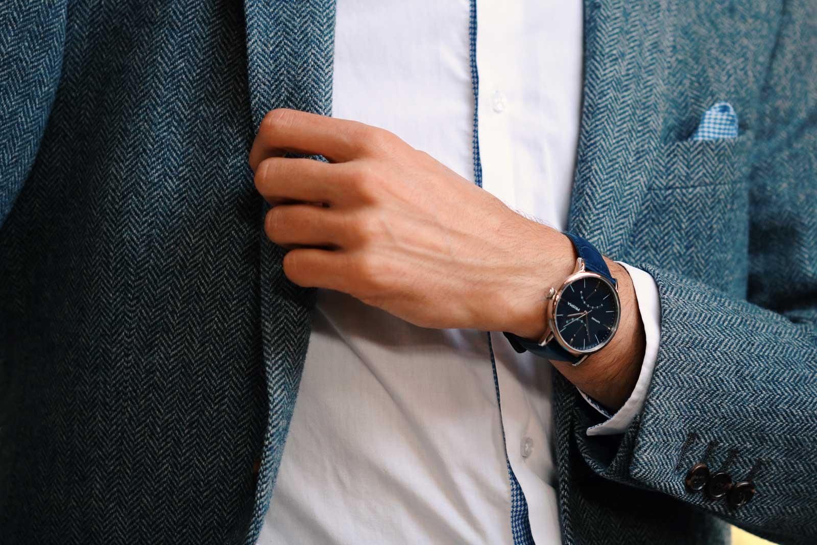 Voyage blauw prisma herenhorloge chique stijlvol men watch